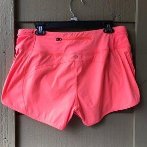 Lululemon Orange Neon Speed Up Shorts Size 10